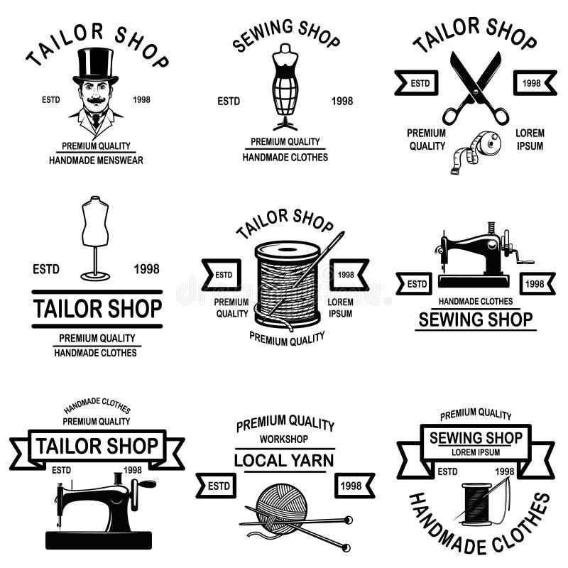Set krawczyny sklepu emblematy Projektuje elementy dla loga, przylepia etykietkę, podpisuje, odznaka ilustracji