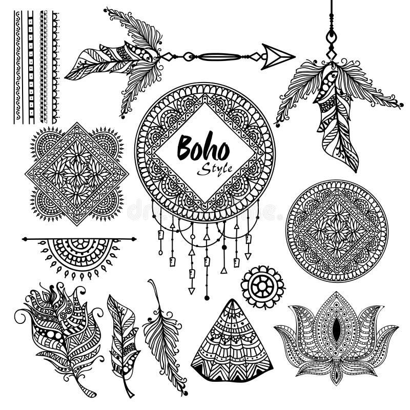 Set kreatywnie Boho stylu elementy royalty ilustracja