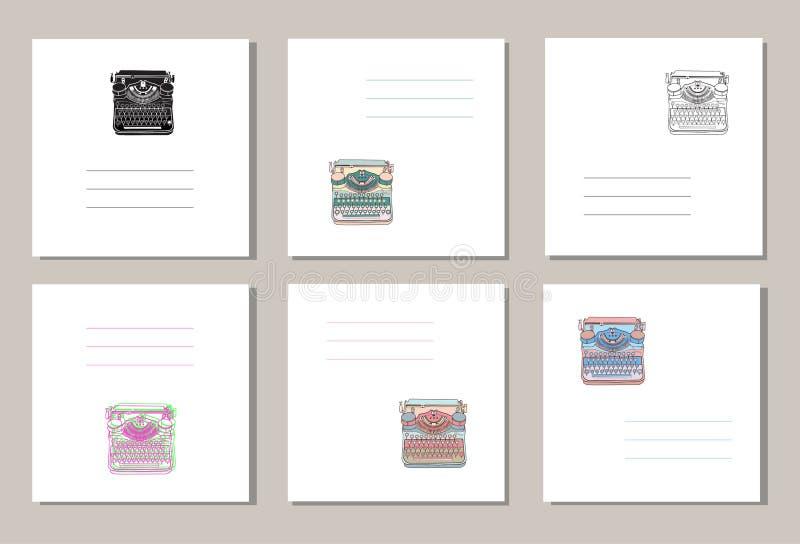 Set 6 kreatywnie cech ogólnych kart z ręki rysującymi roczników maszyna do pisania lub pokrywy ilustracja wektor
