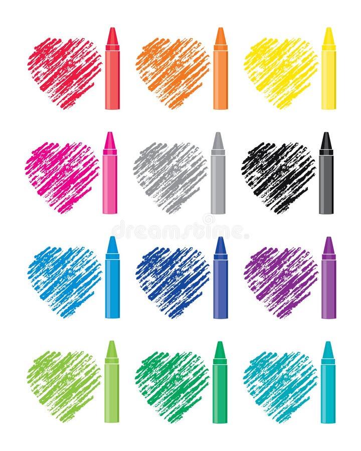 Set kredki i serce rysunki ilustracja wektor