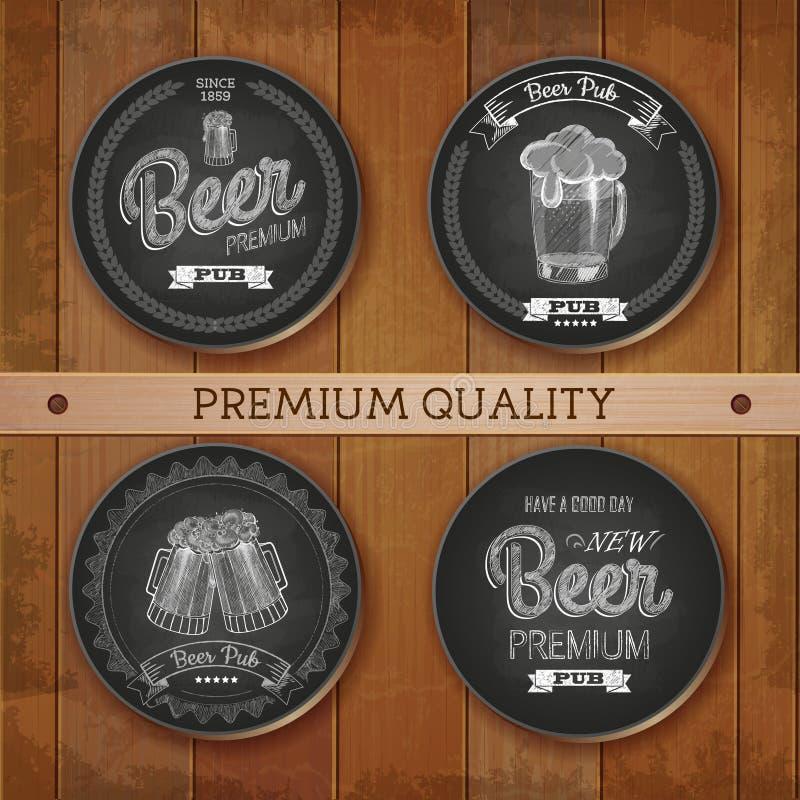 Set kredowego rysunku etykietki z piwem royalty ilustracja