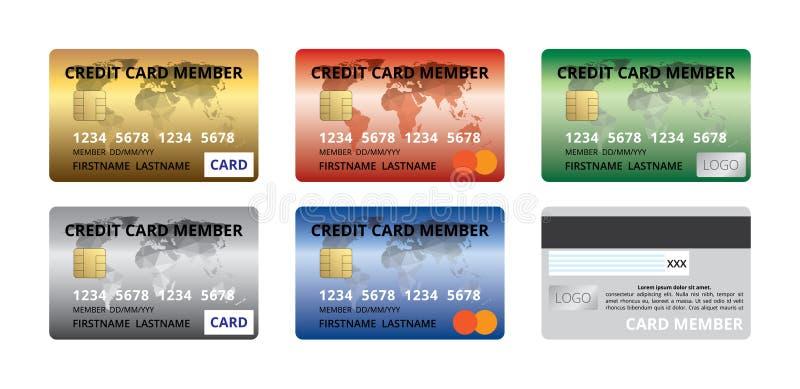 Set kredytowej karty członka przodu z powrotem projekta szablonu złota srebra czerwona błękitna zieleń, tęcza ilustracji