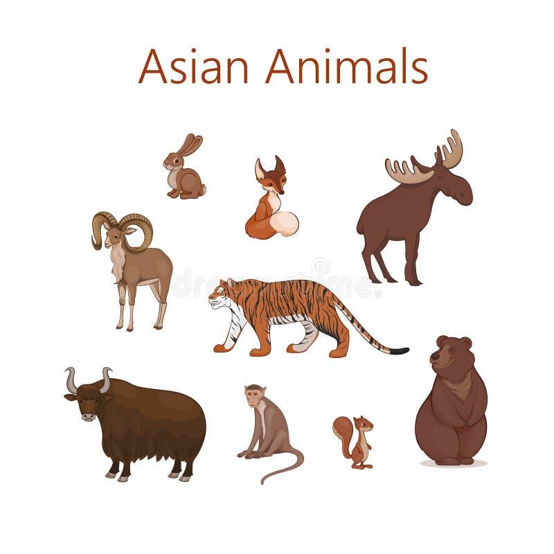Set kreskówek śliczni Azjatyccy zwierzęta Zając, lis, wiewiórka, łosiów yak niedźwiadkowy urial tygrysi makak royalty ilustracja