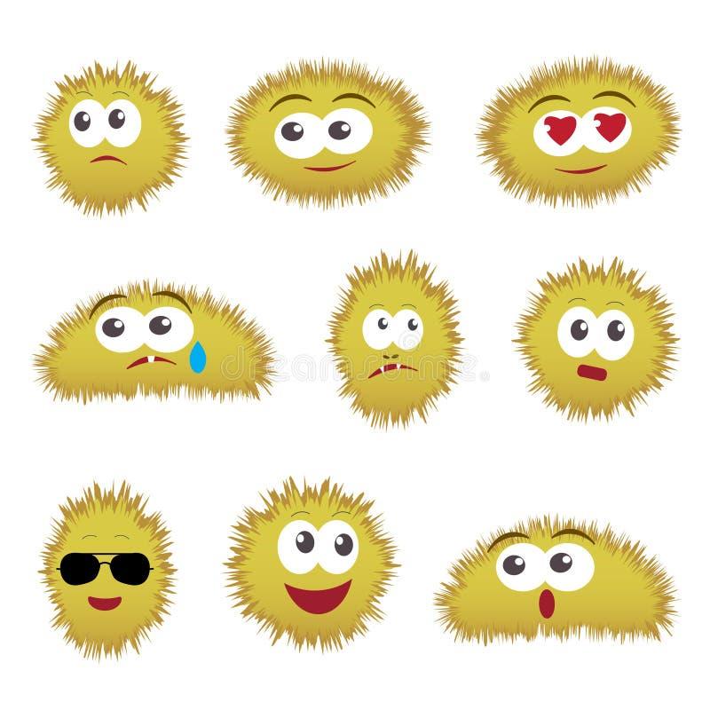 Set kreskówek śmieszni emoticons royalty ilustracja