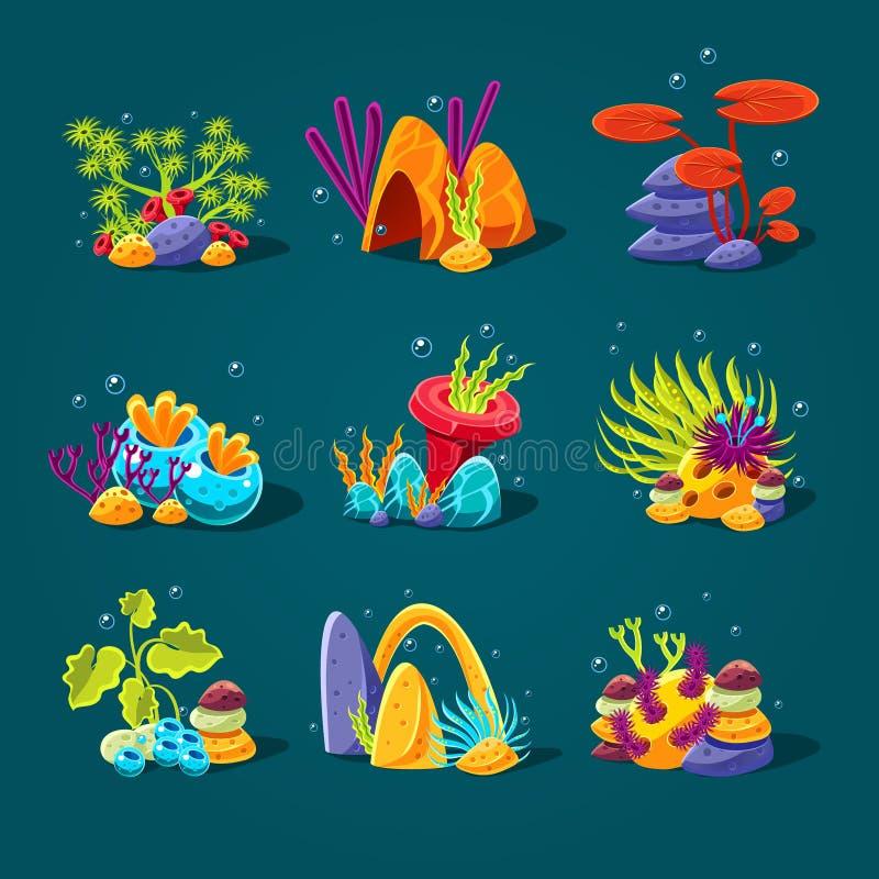 Set kreskówek algi, elementy dla akwarium royalty ilustracja