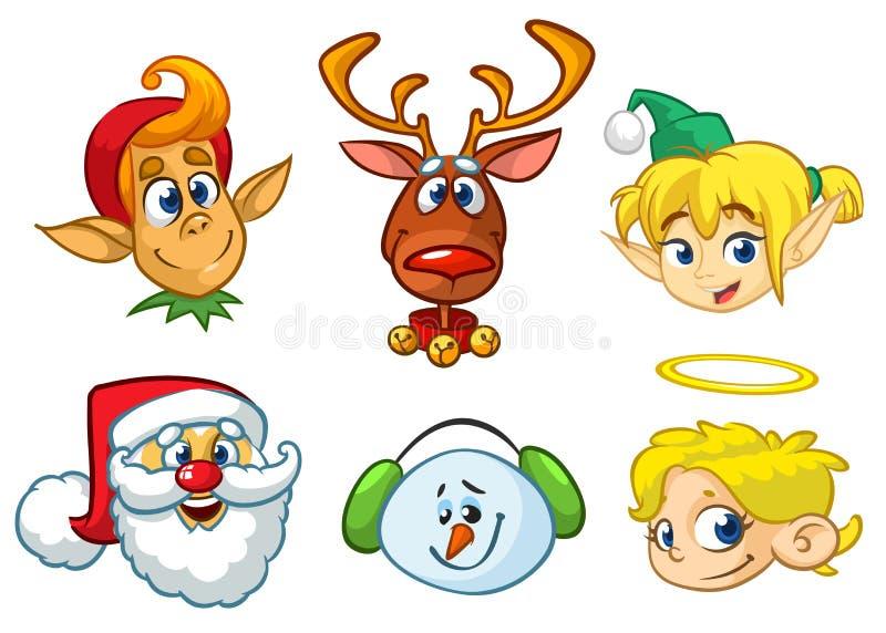 Set kreskówek bożych narodzeń charaktery Wektorowe kreskówki głowy ikony Święty Mikołaj, renifer, elf, bałwan i anioł, ilustracja wektor