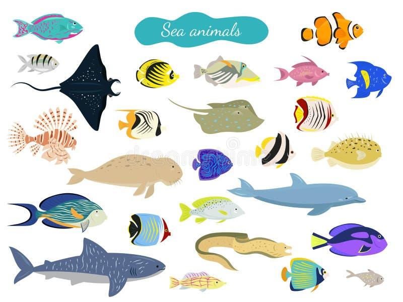 Set kreskówek denni zwierzęta na białym tle ilustracji