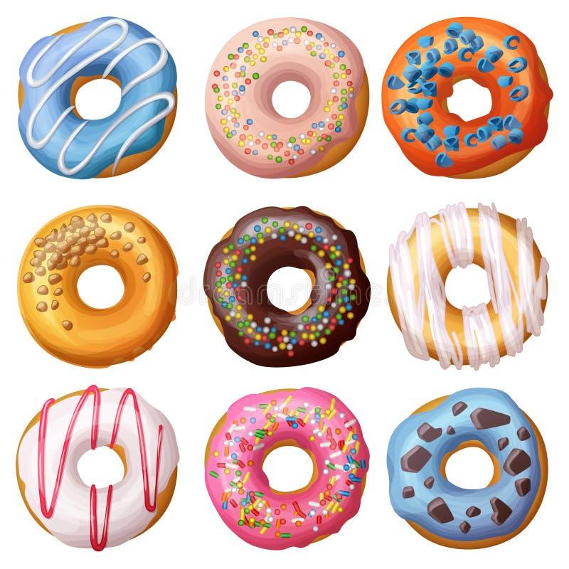 Set kreskówek donuts odizolowywający na białym tle ilustracja wektor
