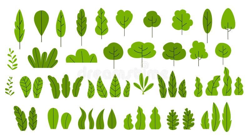 Set kreskówek drzew liście i krzaki royalty ilustracja