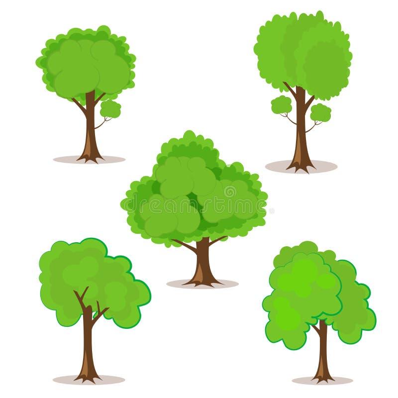 Set kreskówek drzewa pociągany ręcznie dla twój projekta lub projekta Odizolowywający na bielu ilustracji