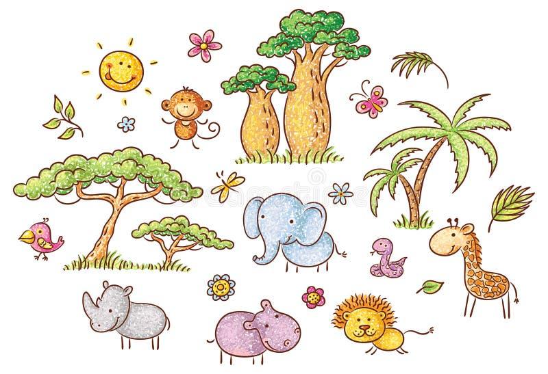 Set kreskówek egzotyczni Afrykańscy zwierzęta rośliny i royalty ilustracja