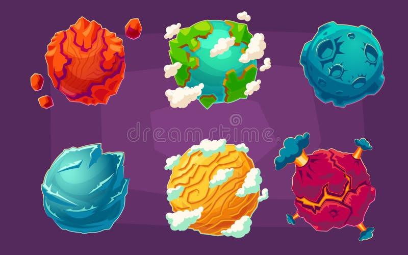 Set kreskówek ilustracj fantazi obcego planety royalty ilustracja