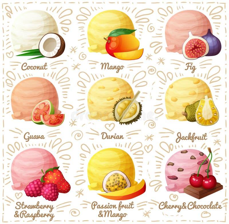 Set kreskówek wektorowe ikony na białym tle Koks, mango, figa, guava, durian, jackfruit, truskawka i ilustracji