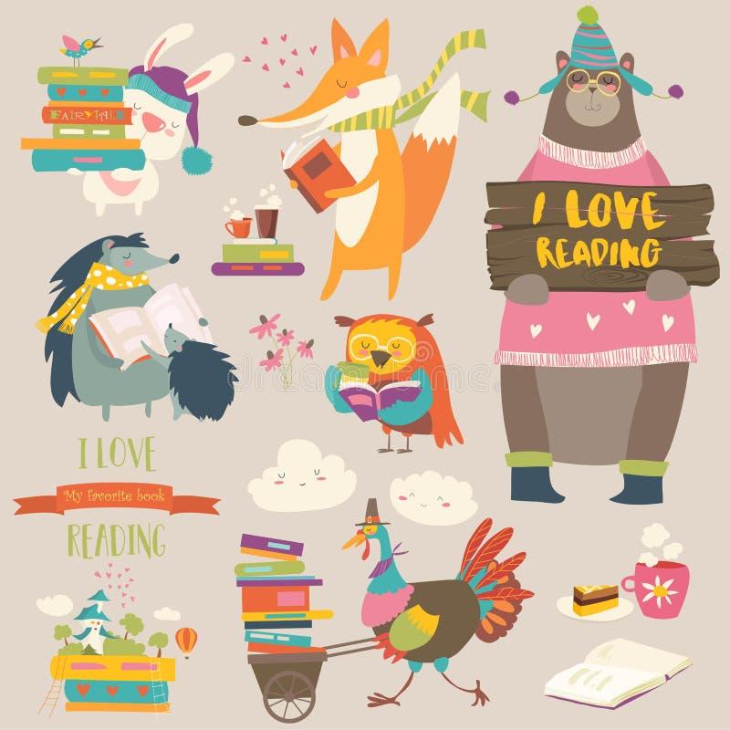 Set kreskówek zwierząt czytelnicze książki ilustracji