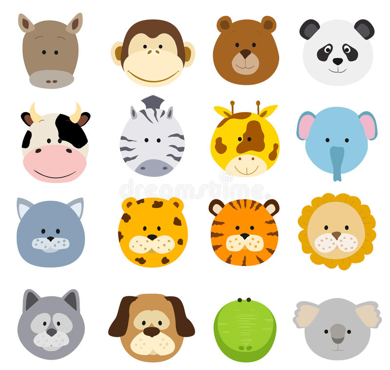 Set kreskówek zwierząt twarze Wektorowa kolekcja śliczna dżungla a ilustracja wektor