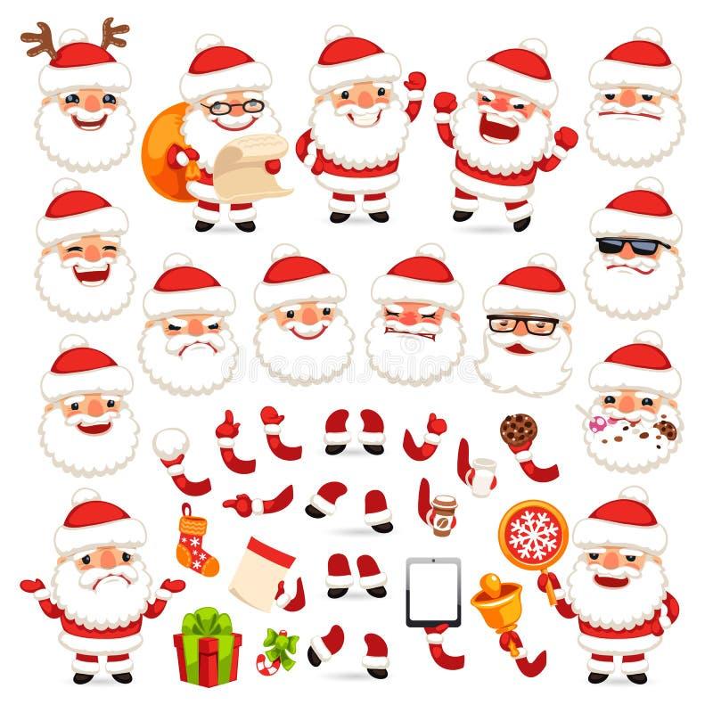 Set kreskówka Święty Mikołaj dla Twój Bożenarodzeniowej animaci lub projekta ilustracji