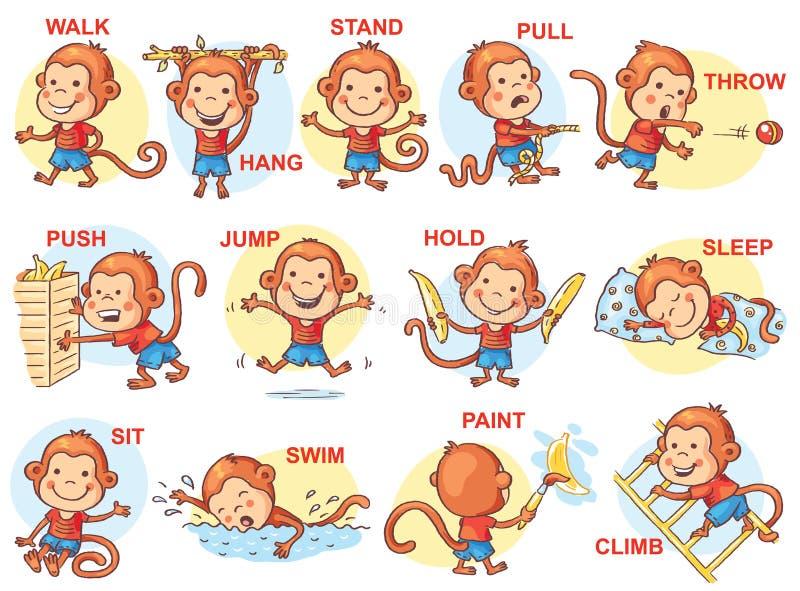 Set kreskówka żartuje trzymać różnych przedmioty ilustracji