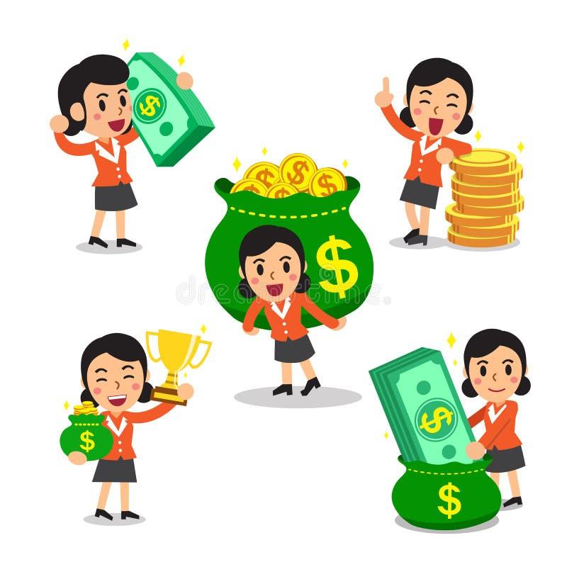 Set kreskówka bizneswoman z pieniądze royalty ilustracja