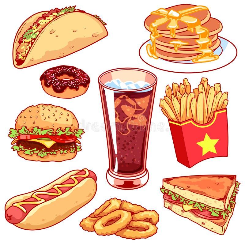 Set kreskówka fasta food ikony na białym tle ilustracji