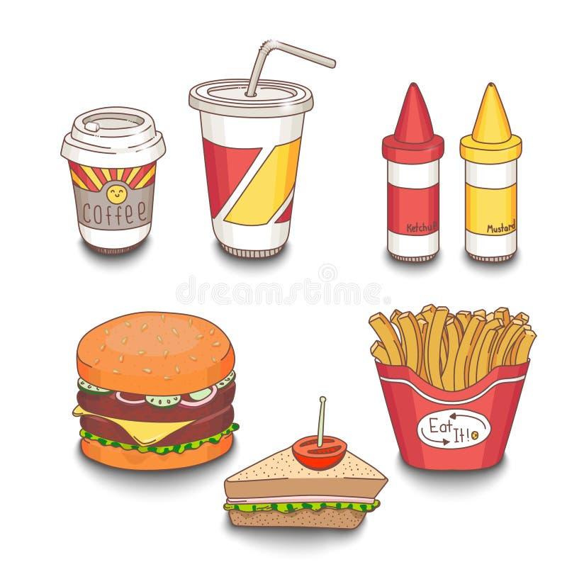 Set kreskówka fasta food posiłek barwił z cieniami royalty ilustracja