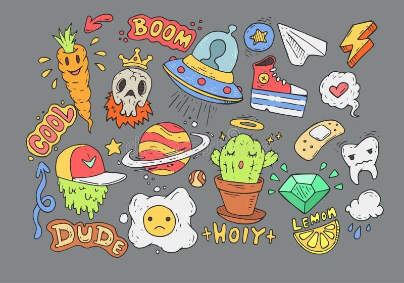 Set kreskówka majchery Komiczni doodles Kreskówek odznaki royalty ilustracja