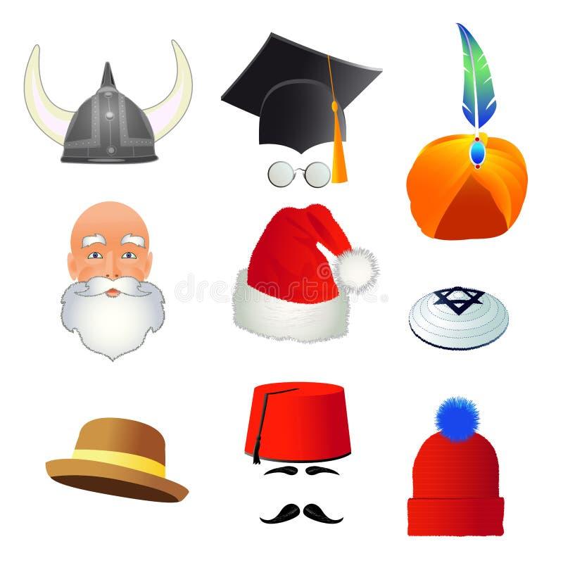 Set kreskówka odgórni kapelusze, różni zawody i narody, wektor royalty ilustracja
