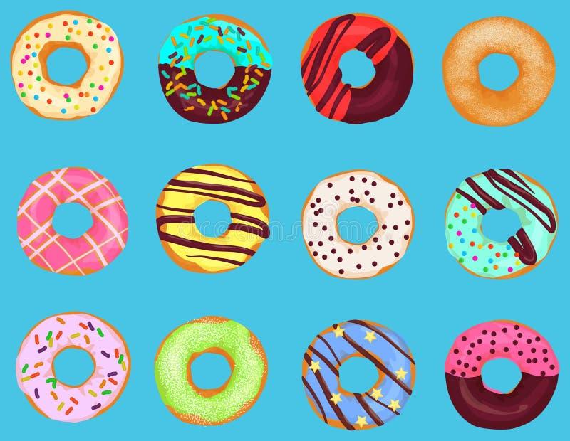 Set kreskówka pączków pączka tort odizolowywający na jaskrawym błękitnym tle Ciast donuts menu royalty ilustracja