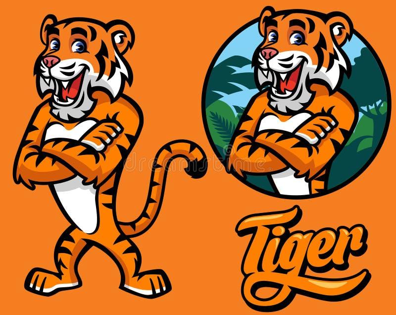 Set kreskówka tygrysa charakter ilustracja wektor