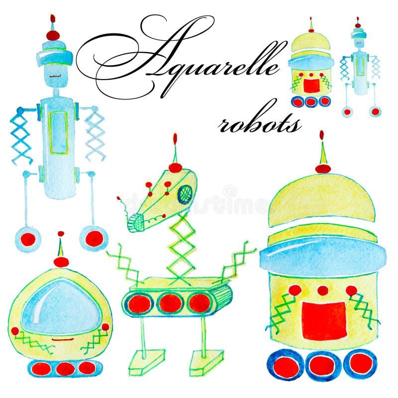 Set kreskówki akwareli robot dla dzieciaków Kolorowi odosobneni przedmioty na białym tle zdjęcia royalty free