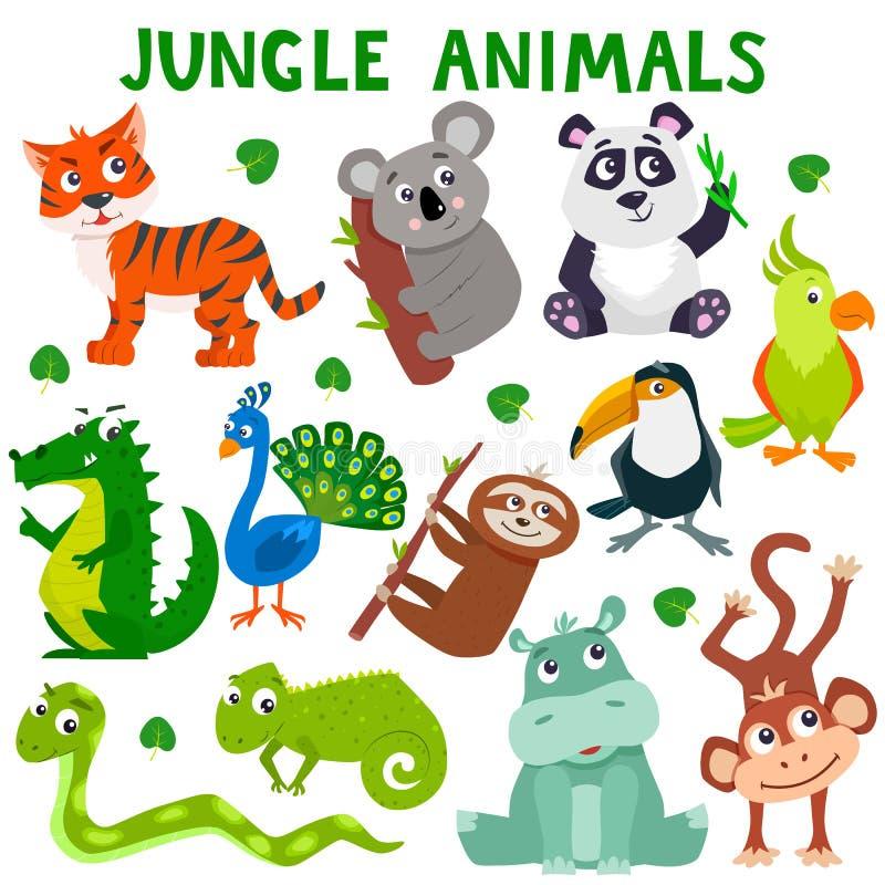 Set kreskówki dżungli śliczni zwierzęta ilustracja wektor