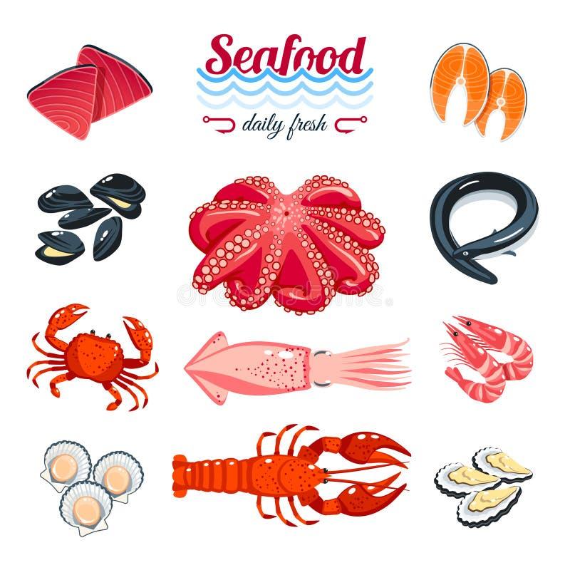 Set kreskówki denny jedzenie - tuńczyk, łosoś, milczkowie, krab, homar i w ten sposób Wektorowa ilustracja, odizolowywająca na bi royalty ilustracja