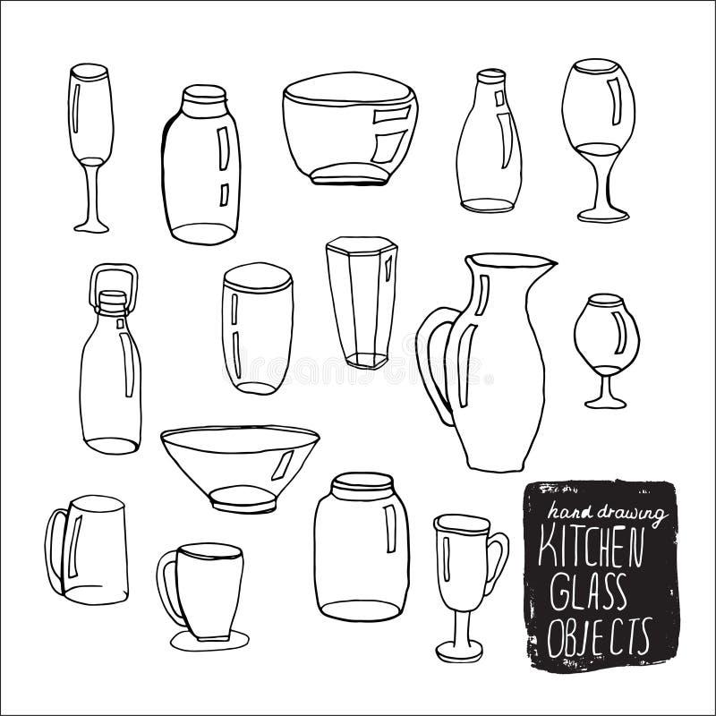 Set kreskówki doodle butelki Kreśli szklane butelki dla karmowego projekta, menu Wszystkie butelki grupują dla łatwego edytorstwa ilustracji