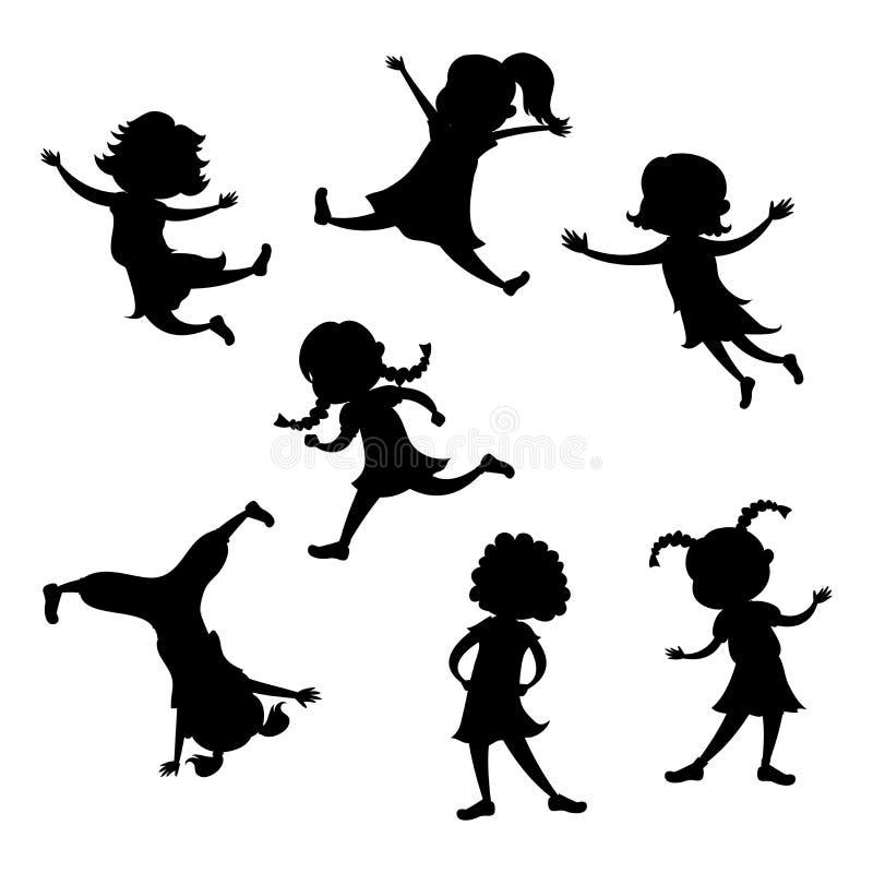 Set kreskówki dziewczyny sylwetka, różne akcj pozy royalty ilustracja