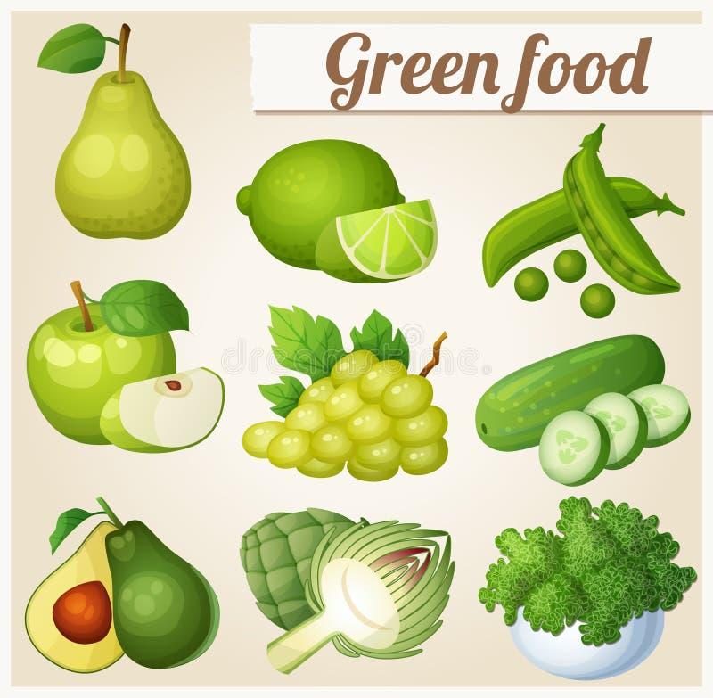 Set kreskówki jedzenia ikony pucharów grochy karmowi świezi zieleni ilustracja wektor