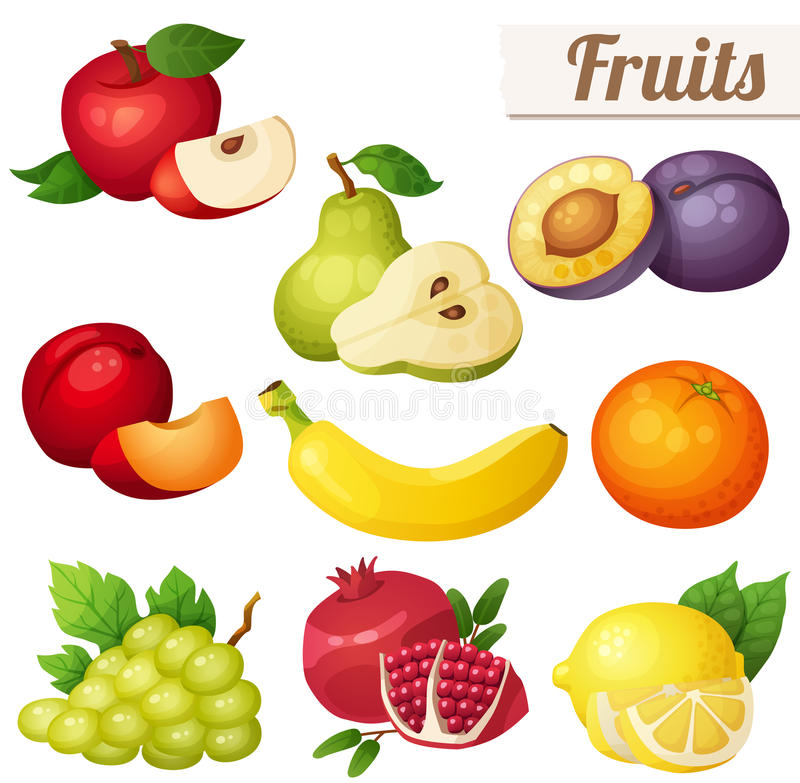 Set kreskówki jedzenia ikony tło owoc odizolowywali biel ilustracji
