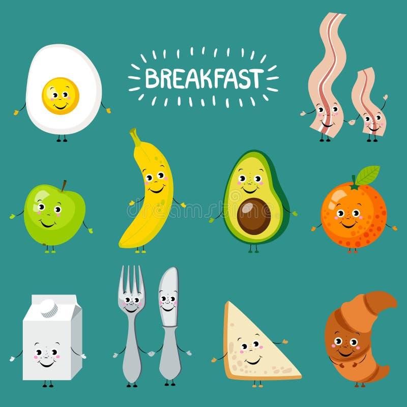 Set kreskówki jedzenie: śniadanie ilustracja wektor