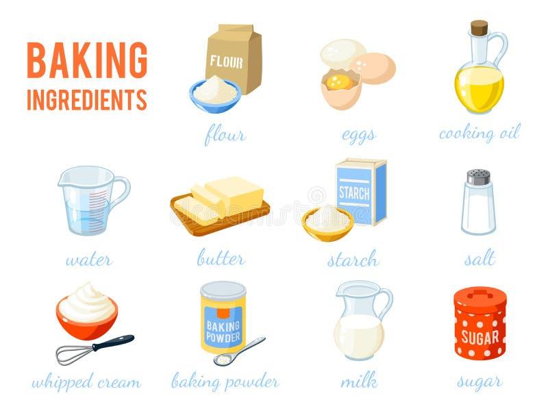 Set kreskówki jedzenie: ingridients ilustracja wektor