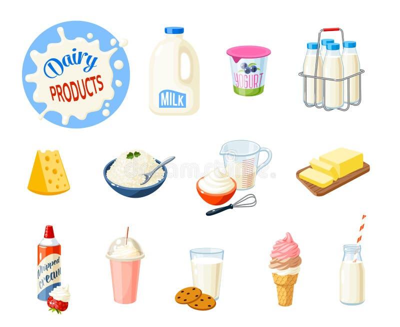 Set kreskówki jedzenie: nabiały ilustracji