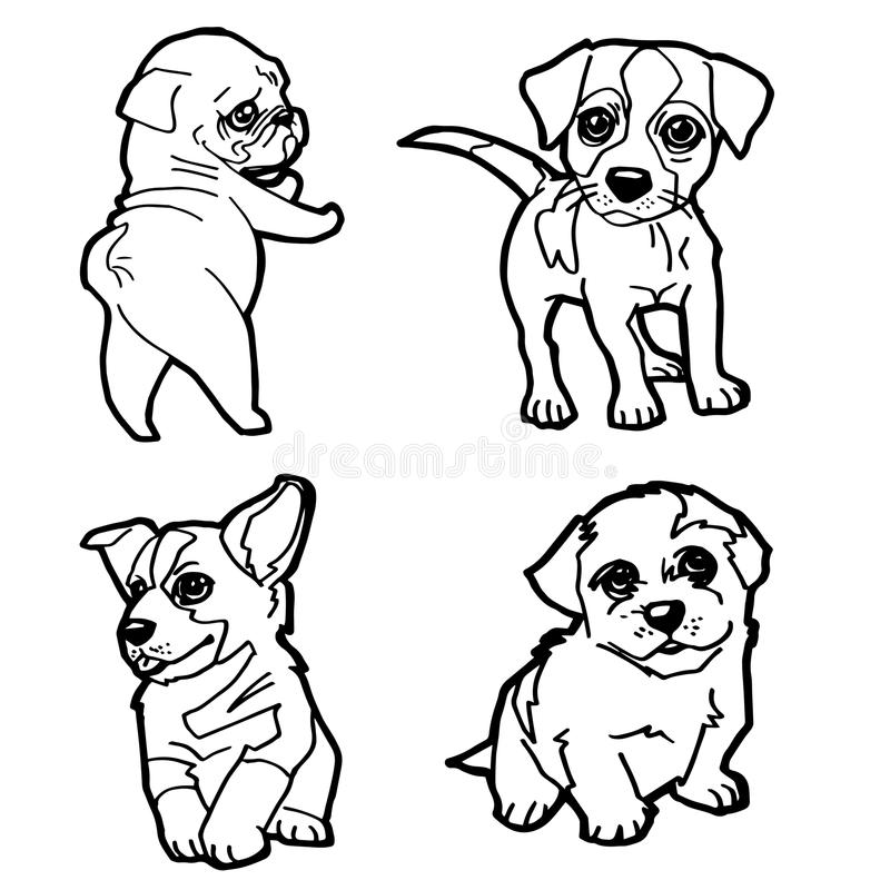 Set kreskówki kolorystyki strony śliczny psi wektor royalty ilustracja
