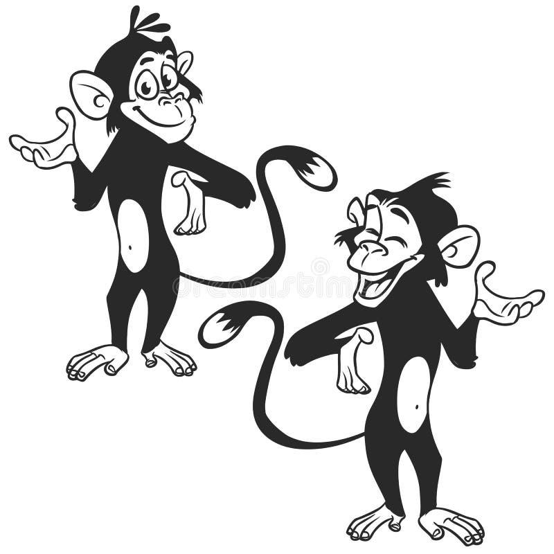 Set kreskówki małpy wyrażenie Wektorowa ilustracja zarysowywająca ilustracja wektor