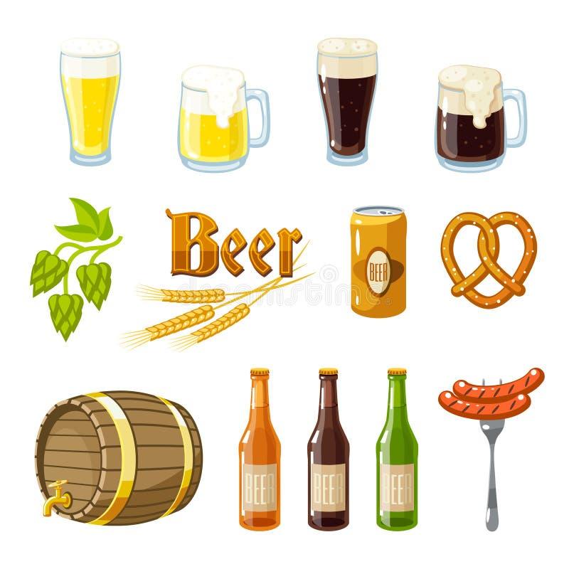 Set kreskówki piwo: lekki i ciemny piwo kubki, butelki, chmiel rożki, jęczmień, piwna baryłka, precel i kiełbasy, również zwrócić royalty ilustracja