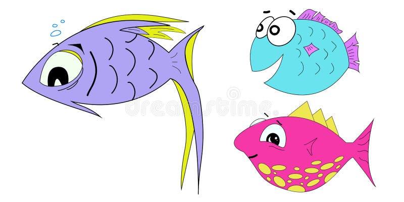 Set kreskówki ryba wektorowa ilustracja na białym tle ilustracja wektor