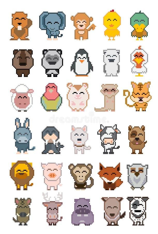 Set kreskówki zwierzęcia piksel ilustracji