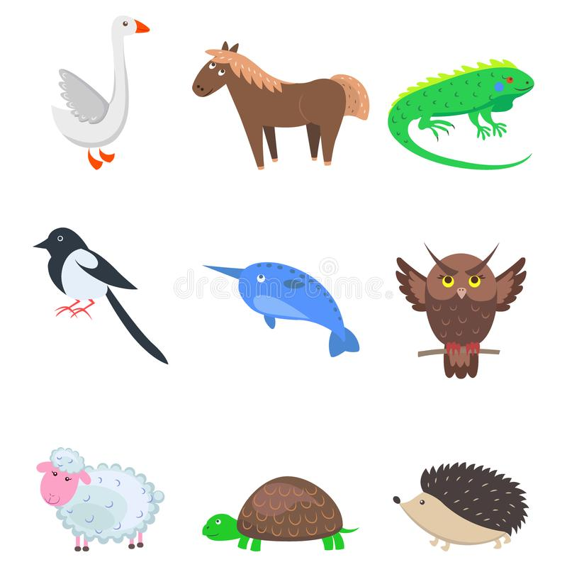 Set kreskówki Zwierzęcy zwierzę domowe i Dzikie Dziewięć ikon ilustracji