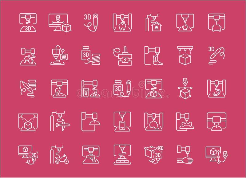 Set Kreskowe ikony 3D druk ilustracji