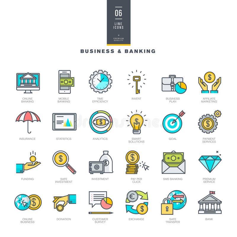 Set kreskowe nowożytne kolor ikony dla biznesu i bankowości royalty ilustracja