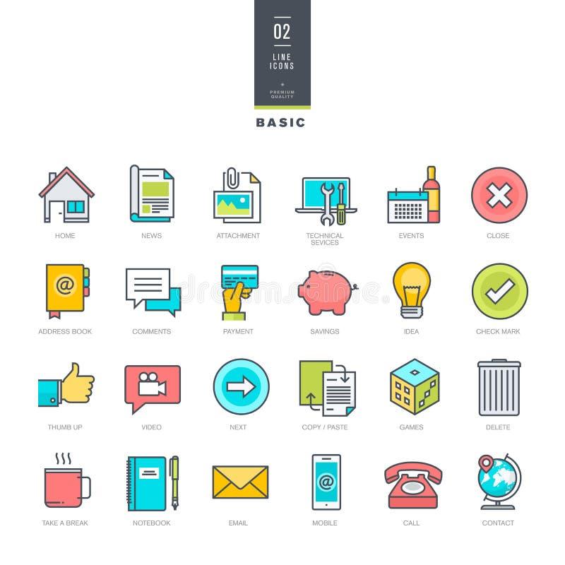 Set kreskowe nowożytne kolor ikony dla strona internetowa projekta royalty ilustracja