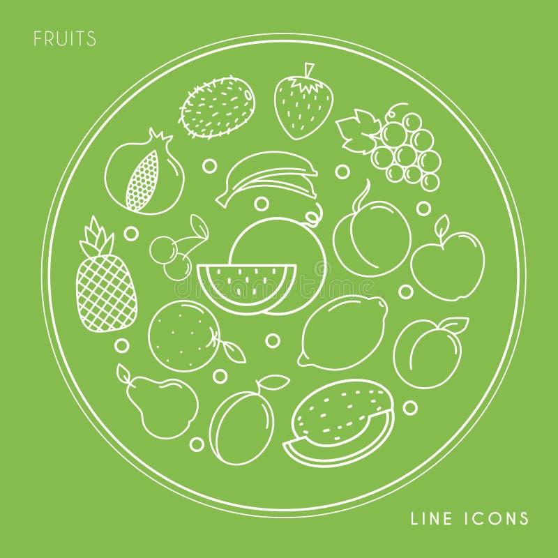 Set kreskowe owocowe białe ikony w okręgu odizolowywającym na zielonym tle Weganin i zdrowy jedzenie ilustracja wektor