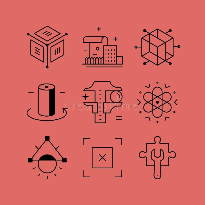 Set kreskowe wektor ikony w mieszkanie stylu ilustracja wektor