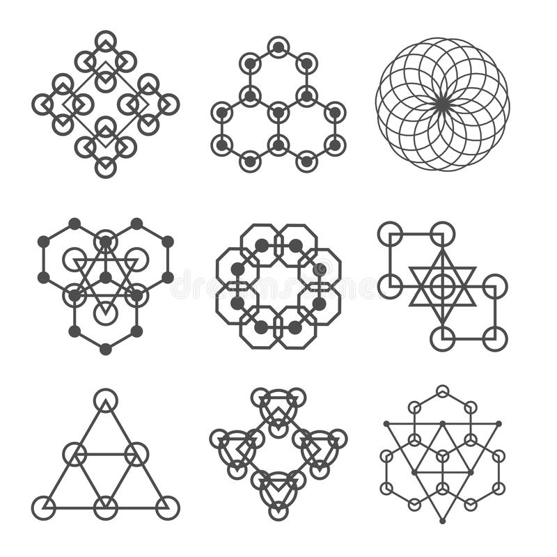Set kreskowi abstrakcjonistyczni geometryczni logotypy Set abstrakcjonistyczni geometryczni kształty, trójboki, kreskowy projekt, royalty ilustracja